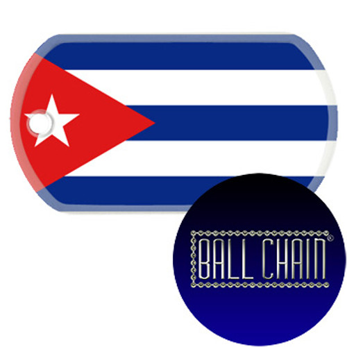 Cuba Flag Color Printed Rolled Edge Stainless Steel Dog Tag
