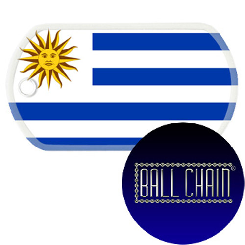 Uruguay Flag Color Printed Rolled Edge Stainless Steel Dog Tag