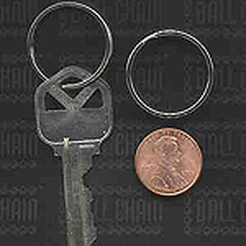 25mm nickel plated split ring perspective photo comparing the size of the key ring to a key and a united states penny.