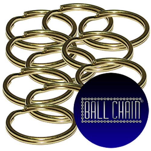 15mm Brass Plated Steel Split Key Rings sold at low wholesale prices.