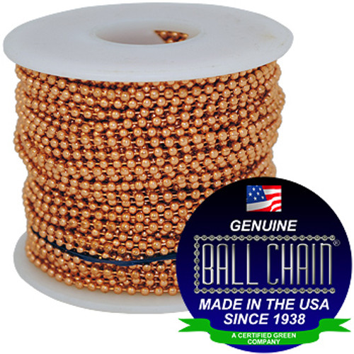 "#6 Copper Ball Chain on a white plastic spool with the Ball Chain Manufacturing seal stating "" Made In The USA Since 1938"" and ""Certified Green Business."""