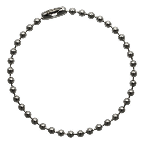 Single #3 (2.4mm diameter) stainless steel ball chain key chains. Great value. Sold in bulk at low wholesale prices. Made in the USA in New york.