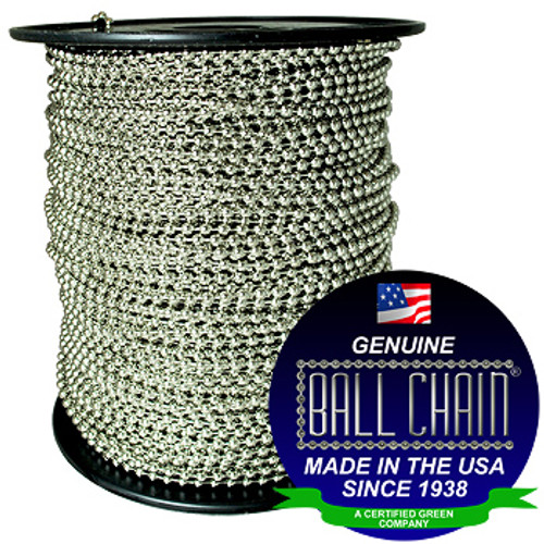 "#10 Nickel Plated Steel Ball Chain Spool with Ball Chain Manufacturing seal stating "" Made in USA since 1938"" and "" certified green business""."