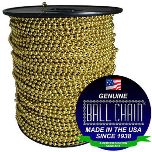 "#10 Yellow Brass Ball Chain Spool with ball chain manufacturing seal stating ""Made in the usa since 1938 and"" and ""certified green business."""
