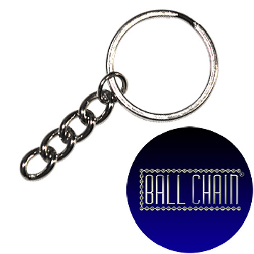 28mm Nickel Plated Steel Split Key Rings with Chain & Jump Ring