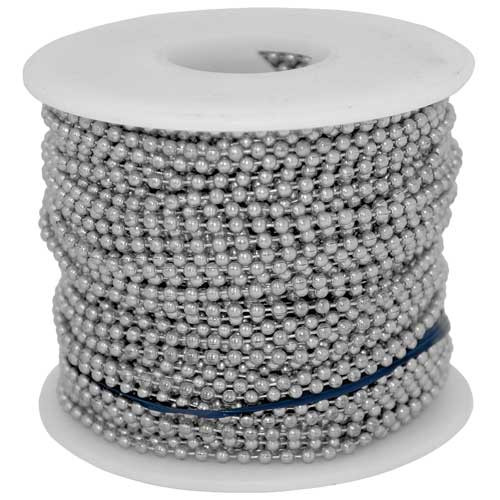 #10 aluminum ball chain/bead chain spool or roll. It is our lightest ball chain material and purchasing it in spool/roll form is the most cheapest way to buy this chain.