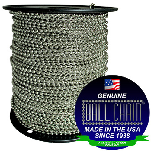 "#10 Stainless Steel Ball Chain Spool with Ball Chain Manufacturing seal stating ""made in the usa since 1938"" and ""certified green business."""