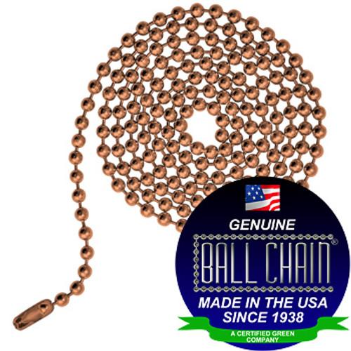 #6 Ball Chains Pre-Cut Three Foot Length Copper