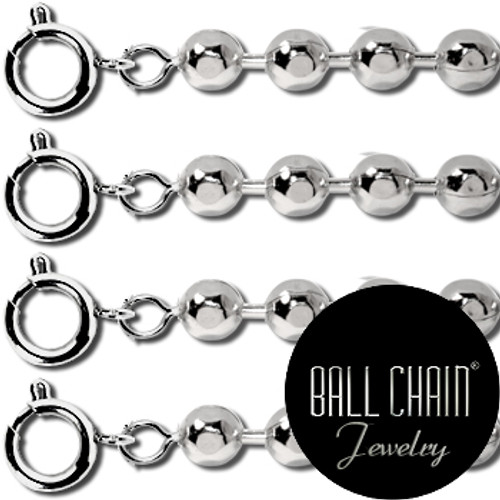 2.1mm Sterling Silver Ball Chains with Spring Ring - 24 Inch Length - Faceted style chain