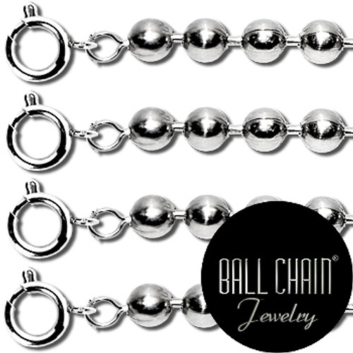 2.4mm Sterling Silver Ball Chains with Spring Ring - 24 Inch Length