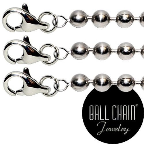 #3 Nickel Plated Brass Ball Chains with Lobster Claw - 20 Inch Length. Pre-assembled nickel plated brass jewelry chain perfect for home jewelry making!