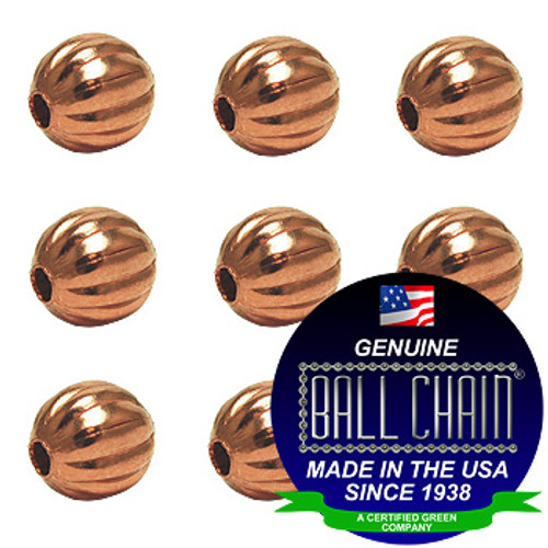 9.5mm Fluted Beads - Copper