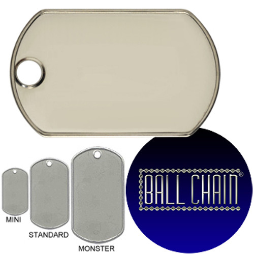 Monster Dog Tags - Blank Rolled Edge Stainless Steel - Matte Finish