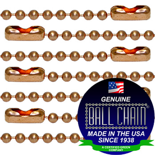#3 Copper Ball Chains with Connector - 24 Inch Length