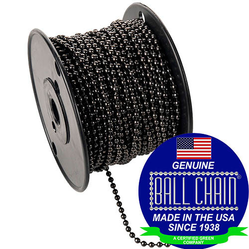 """#6 gun metal chain on a black plastic spool with the Ball Chain Manufacturing seal on the bottom left stating """"Made In The USA Since 1938"""" & Certified green business."""