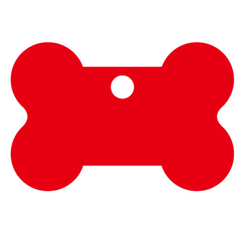 Red bone shaped pet dog tag made of anodized aluminum. This tag is commonly purchased by pet stores, animal shelters and government organizations.