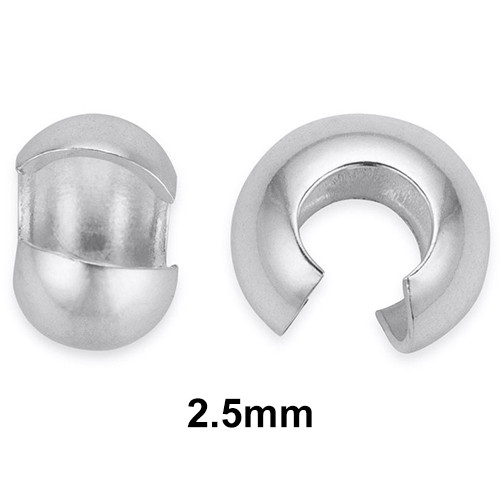 2.5mm crimp covers sold in bulk at low factory direct wholesale prices. These 2.5mm sterling silver open ball crimp covers are a handmade jewelers best friend.  Perfect for everyday jewelry making.