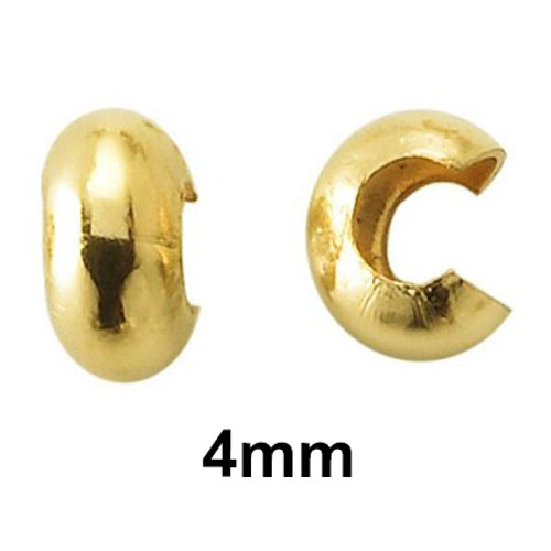 4mm 12kt gold filled open ball crimp cover perfect for the creation of high quality home made jewelry. This image shows the profile and back of the crimp cover/open ball. These are made in the USA at our Mount Vernon, NY factory.