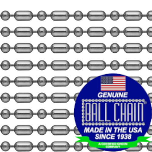 #3 Stainless steel ball bar style bead chain neckchains that are 30 inches in length with the ball chain made since 1938 in the USA seal on the bottom left of the picture.