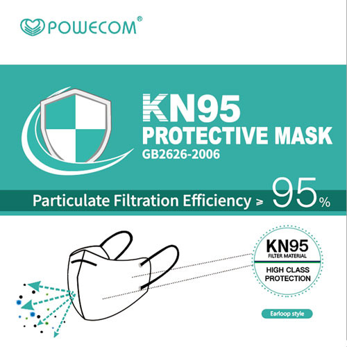 Powecom KN95 workplace safety respirator that filters out 95% of particulate or more. Similar to the N95 the Powecom KN95 face mask is great for construction, healthcare, education and many other industries where respiratory health is a factor.