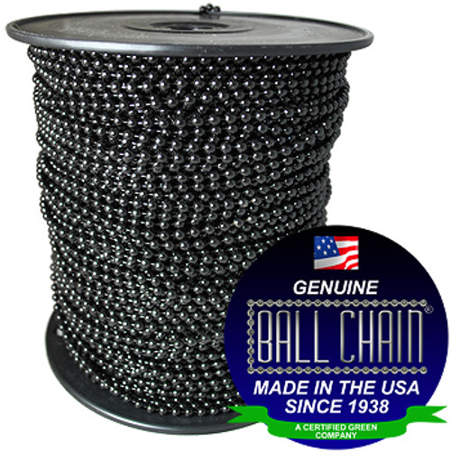 #3 Black Coated Ball Chain Spool sold by the foot. This image of the beaded chain spool has the Ball Chain Mfg seal in the image showing that it has been made int he USA since 1938.