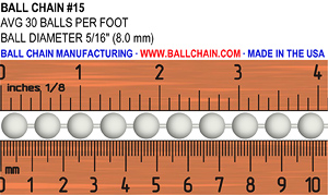 #15 Bead Chain Ruler Explainer Image. It shows an average of 30 balls/beads per foot and a ball/bead diameter of 5/16""