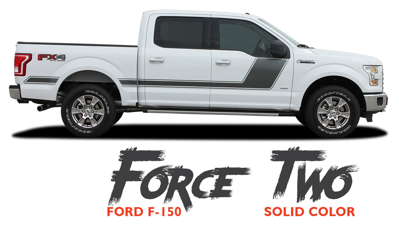Force Two Solid Side Hockey Decals Stripes Vinyl Graphics 2009-2014 Ford F-150