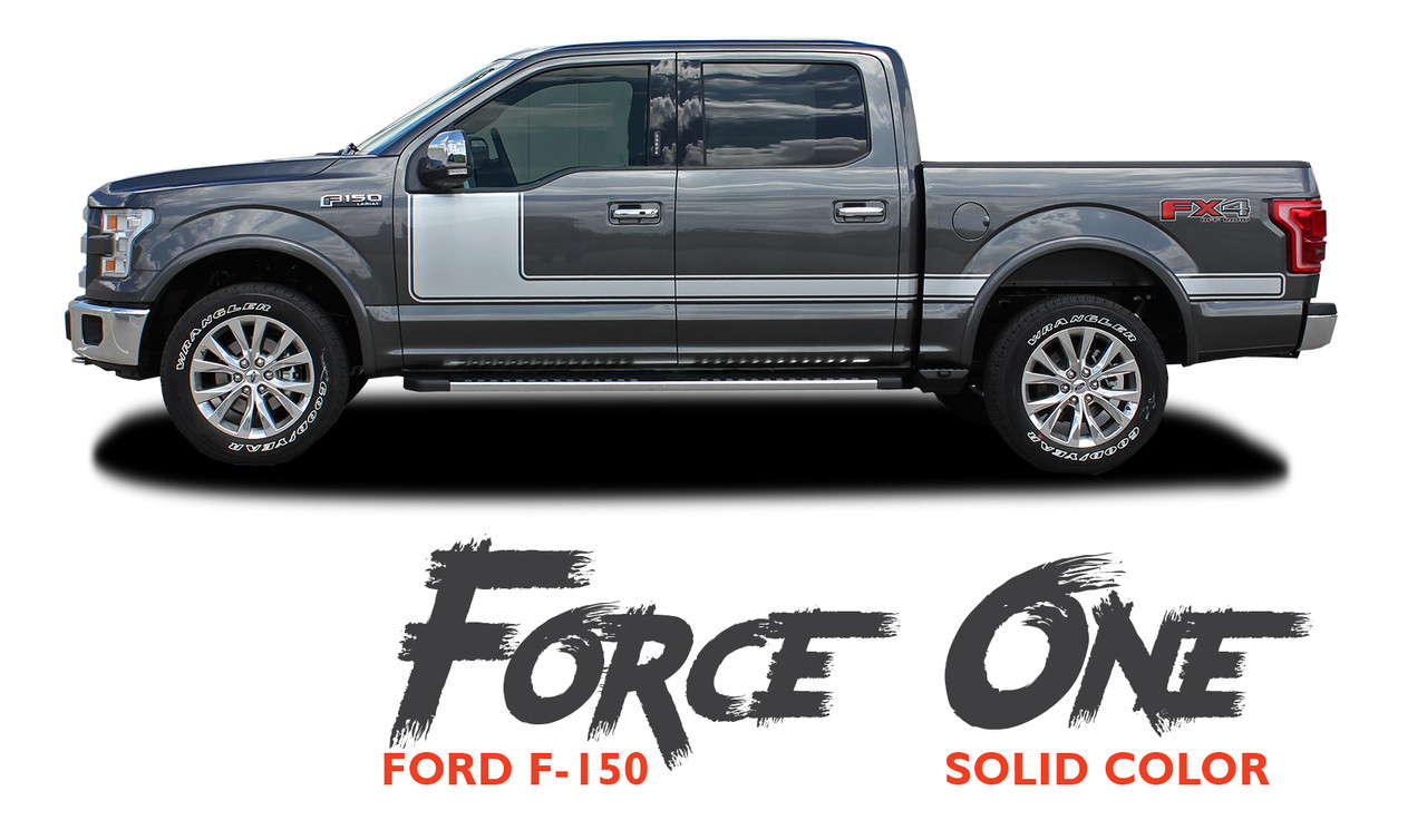 2015-2019 Force One F-150 Solid Side Door Hockey Decals Stripes Vinyl Graphics