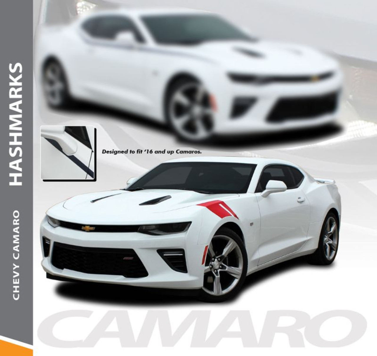 2016 2017 2018 Chevy Camaro Hood Stripes Hashmarks Double 3M Vinyl Graphic Decal
