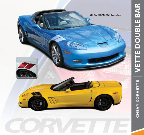 Chevy Corvette C6 DOUBLE BAR Hash Mark Fender Hood Vinyl Graphic Stripes for 2005 2006 2007 2008 2009 2010 2011 2012 2013