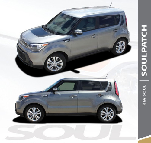 Kia Soul Factory Style SOUL PATCH Hood Blackout and Side Accent Vinyl Graphics Decal Stripe Kit 2010-2019