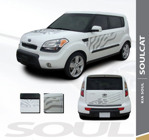 Kia Soul Hood Side Door Cat Paw Vinyl Graphics SOUL CAT Decal Stripe Kit 2010-2013