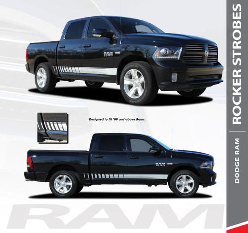 Dodge Ram ROCKER STROBES Lower Door Rocker Panel Body Stripes Vinyl Graphics Kit 2009-2018 Models