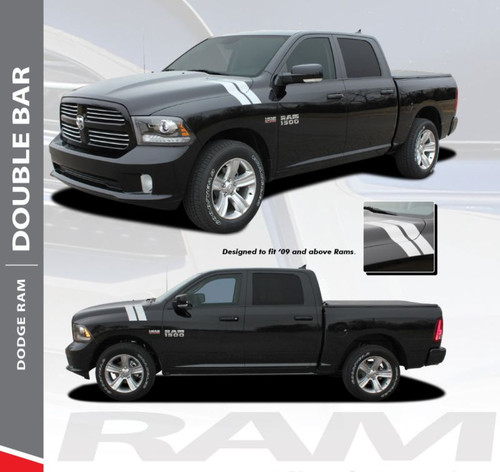 Dodge Ram DOUBLE BAR Hood Hash Marks Slash Stripes Decals Vinyl Graphics Kit 2009-2018 Models