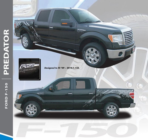 Ford F-150 PREDATOR F-Series Raptor Mudslinger Side Truck Bed Vinyl Graphics Decals Striping Kit 2009 2010 2011 2012 2013 2014