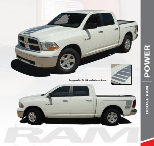 Dodge Ram POWER Center Strobe Hood Rear Body Bed Stripe Decal Vinyl Graphics Kit 2009-2018 Models