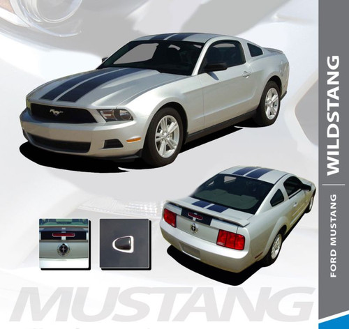 Ford Mustang WILDSTANG 10 Lemans Style Hood Racing Stripes with Pin Stripe Outline VInyl Graphics Kit 2010 2011 2012 Models