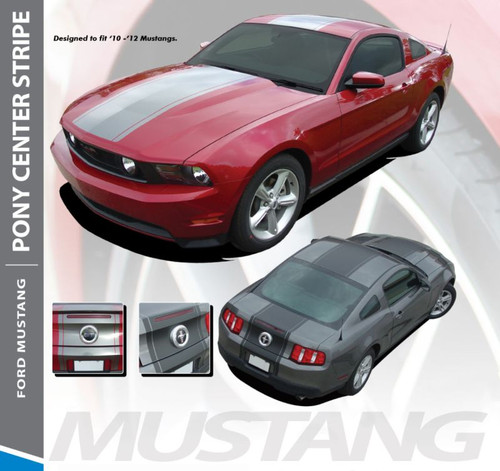 Ford Mustang PONY CENTER Wide Center Hood Roof Racing Stripe Rally Decal Vinyl Graphics Kit 2010 2011 2012 Models