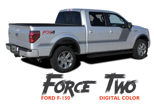 Ford F-150 FORCE TWO DIGITAL Appearance Package Hockey Side Door Vinyl Graphic Decal Kit for 2009-2014 or 2015 2016 2017 2018 2019