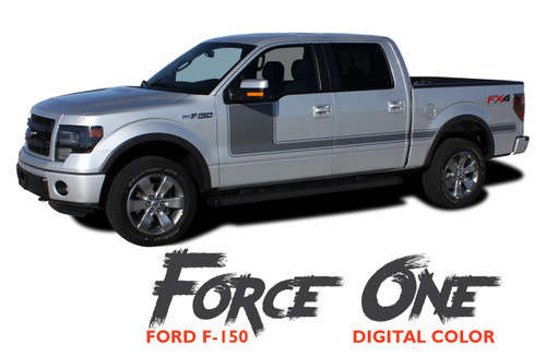 Ford F-150 FORCE ONE DIGITAL Appearance Package Hockey Side Door Vinyl Graphic Decal Kit for 2009-2014 or 2015 2016 2017 2018 2019
