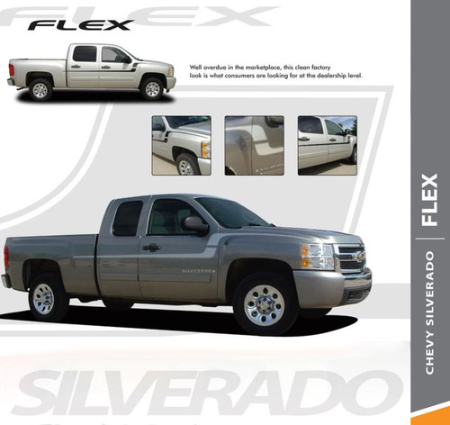 Chevy Silverado Fender Stripes FLEX Side Body Hockey Door Vinyl Graphics Decal 2010 2011 2012 2013 2014 2015 2016 2017 2018