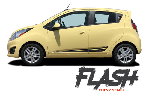Chevy Spark FLASH Lower Rocker Panel Door Body Vinyl Graphics Stripe Decal Kit 2013 2014 2015 2016