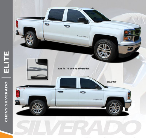 Chevy Silverado Pin Stripe ELITE Upper Body Door Accent Vinyl Graphic Decals Kit 2014 2015 2016 2017 2018