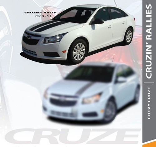 Chevy Cruze RALLY Cruzin Racing Stripes Hood Trunk Vinyl Graphics Decal Kit for 2008 2009 2010 2011 2012 2013 2014