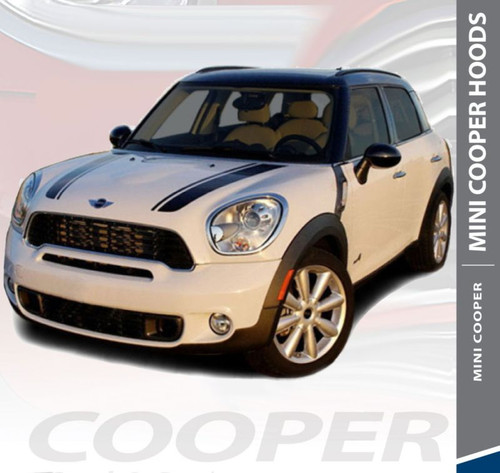 Mini Cooper COUNTRYMAN HOOD Split Hood Striping Vinyl Graphics Decals Kit 2010 2011 2012 2013 2014 2015 2016