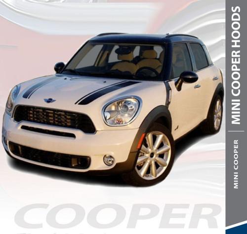 Mini Cooper COUNTRYMAN HOOD Split Hood Striping Vinyl Graphics Decals Kit 2010 2011 2012 2013 2014 2015 2016