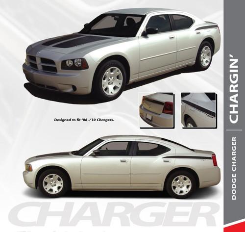 Dodge Charger CHARGIN Split Hood Rear Body Quarter Trunk Blackout Vinyl Graphics Decals Stripes 2006 2007 2008 2009 2010 Models