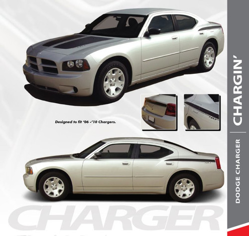 Dodge Charger CHARGIN Split Hood Rear Body Quarter Trunk Blackout Vinyl Graphics Decals Stripes 2006 2007 2008 2009 2010 Models