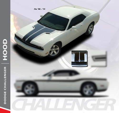 Dodge Challenger HOOD Factory OEM Style Split Hood Vinyl Racing Stripes Decals for 2008 2009 2010 2011 2012 2013 2014 Models