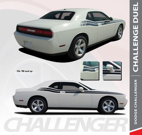 Dodge Challenger DUEL Upper Door Split Strobe Vinyl Graphic Decal Stripe Kit 2008 2009 2010 2011 2012 2013 2014 2015 2016 2017 2018 2019 2020